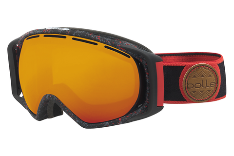 Bolle - Gravity Black &  Red Splatter Goggles, Fire Orange Lenses