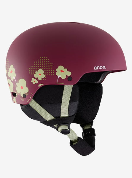 Anon - Kids' Rime 3 L-XL Flower Maroon Snow Helmet