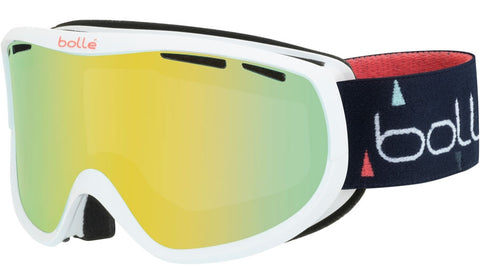 Bolle - Sierra Shiny White + Blue Snow Goggles / Sunshine Lenses