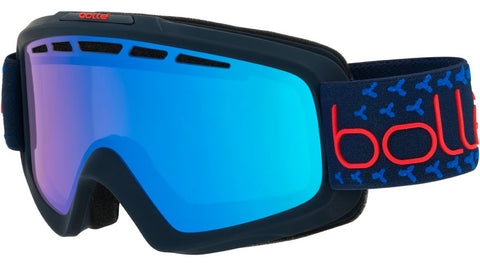 Bolle - Nova II Matte Navy Red Snow Goggles / Photochromic Vermillon Blue Lenses