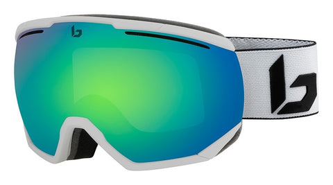 Bolle - Northstar Matte White Corp Snow Goggles / Green Emerald Lenses