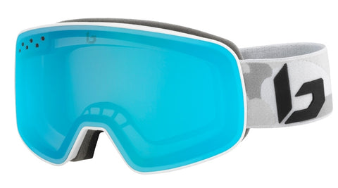 Bolle - Nevada Matte White Camo Snow Goggles / Photochromic Vermillon Blue Lenses