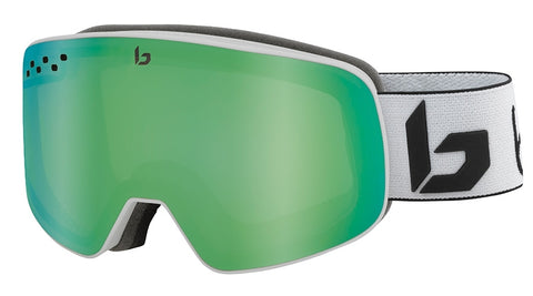 Bolle - Nevada Matte White Corp Snow Goggles / Green Emerald Lenses