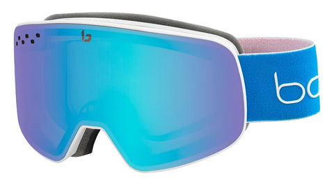 Bolle - Nevada Matte White Blue Snow Goggles / Race Aurora Lenses