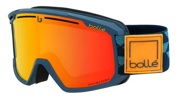 Bolle - Maddox Matte Black Blue Checkerboard Snow Goggles / Phantom Fire Red Lenses