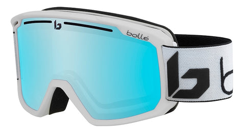 Bolle - Maddox Matte White Corp Snow Goggles / Photochromic Vermillon Blue Lenses