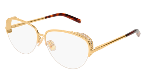 Boucheron - BC0049O Gold Havana Eyeglasses / Demo Lenses