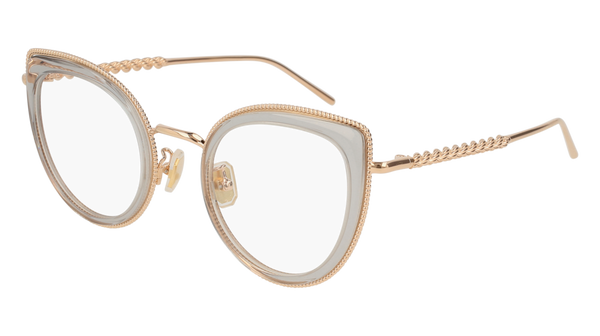 Boucheron - BC0047O Grey Gold Eyeglasses / Demo Lenses