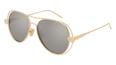 Boucheron - BC0030S Gold Sunglasses / Silver Mirror Lenses