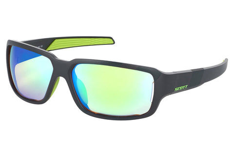 Scott - Obsess ACS Black Matte / Neon Green Sunglasses, Green Chrome Amplifier Lenses
