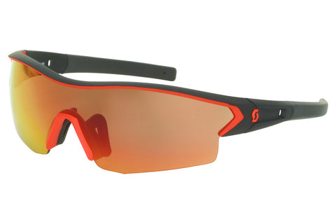 Scott - Leap Black Matte / Neon Red Sunglasses, Red Chrome + Clear Lenses