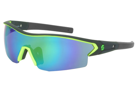 Scott - Leap Black Matte / Neon Green Sunglasses, Green Chrome + Clear Lenses