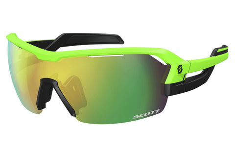 Scott - Spur Neon Green Matte / Black Sunglasses, Green Chrome Amplifier + Clear Lenses