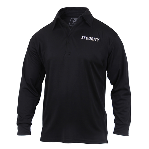 Rothco - Long Sleeve Moisture Wicking Security Black Polo Shirt