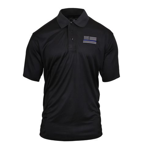 Rothco - Moisture Wicking Thin Blue Line Black Polo Shirt