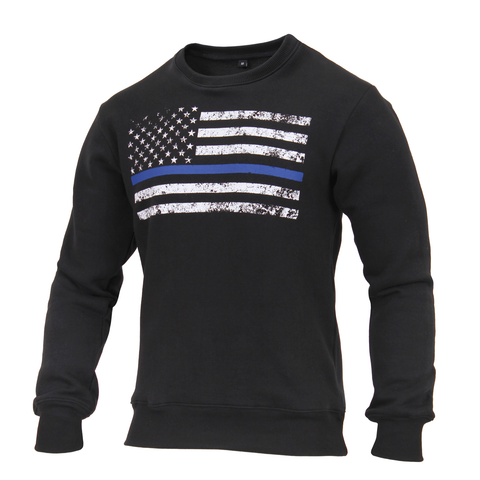 Rothco - Crew Neck Thin Blue Line Flag Black Sweatshirt
