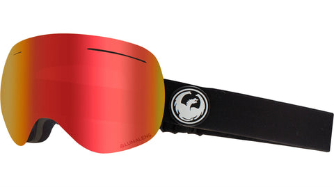 Dragon - X1 Black Snow Goggles / Red Ion + Rose Lenses