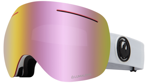 Dragon - X1 LL White Snow Goggles / Pink Ion + Dark Smoke Lenses