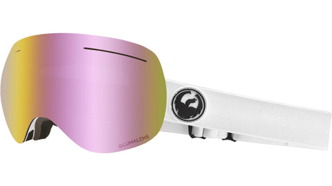 Dragon - X1 White Snow Goggles / Pink Ion + Dark Smoke Lenses