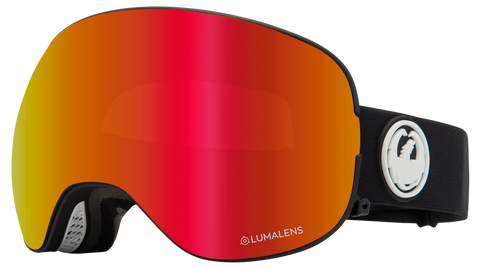 Dragon - X2 LL Black Snow Goggles / Red Ion + Rose Lenses