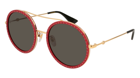 Gucci - GG0061S Red + Gold Sunglasses / Grey Lenses