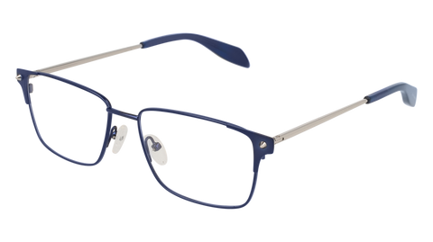 Alexander McQueen - AM0142O Blue Silver Eyeglasses / Demo Lenses