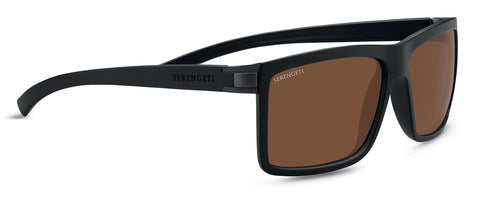 Serengeti - Brera Large Sanded Black Sunglasses / Mineral Polarized Drivers Brown Lenses