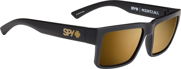 Spy - Montana Soft Matte Black Sunglasses / Happy Bronze + Gold Mirror Lenses