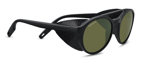 Serengeti - Leandro Glacier Matte Black Sunglasses / Mineral Polarized 555nm Green Lenses