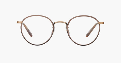 Garrett Leight - Wilson Brown Pearl Brushed Gold Dark Wave Rock Eyeglasses / Demo Lenses