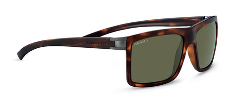 Serengeti - Brera Large Matte Tortoise Sunglasses / Mineral Polarized 555nm Green Lenses