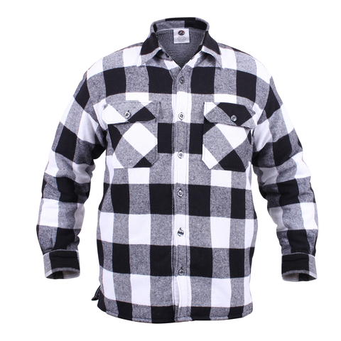 Rothco - Extra Heavyweight Buffalo Plaid Sherpa Lined White Flannel Shirt