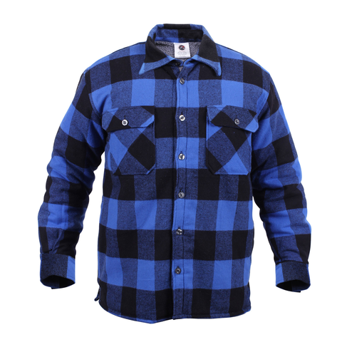 Rothco - Extra Heavyweight Buffalo Plaid Sherpa Lined Blue Flannel Shirt
