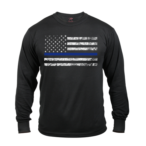 Rothco - Thin Blue Line Black Long Sleeve Tee