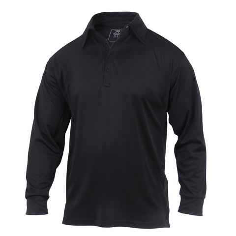 Rothco - Long Sleeve Tactical Performance Black Polo Shirt