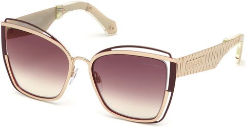 Roberto Cavalli - RC1096 Montopoli Shiny Rose Gold Sunglasses / Gradient Bordeaux Lenses
