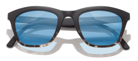Sunski Manresas Black Tortoise Sunglasses / Aqua Polarized Lenses