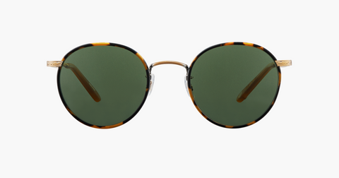 Garrett Leight - Wilson 46mm Tokyo Tortoise Amber Honey Sunglasses / Pure Green Lenses