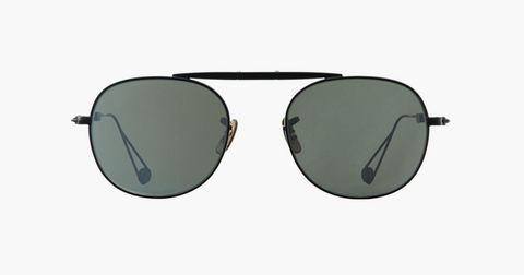 Garrett Leight - Van Buren M Black Sunglasses / Flat Vinyl Mirror Lenses