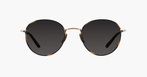 Garrett Leight - Paloma Tiger Eye Gold Sunglasses / Semi Flat Matte Black Mirror Lenses