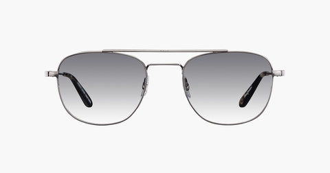 Garrett Leight - Club House Pewter Basalt Sunglasses / Semi Flat Black Gradient Lenses