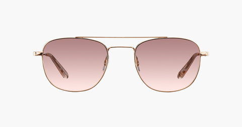 Garrett Leight - Club House Rose Gold Nude Sunglasses / Semi Flat Blush Shadow Mirror Lenses