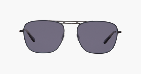 Garrett Leight - Canal Matte Charcoal Gunmetal Sunglasses / Semi Flat Matte Black Mirror Lenses
