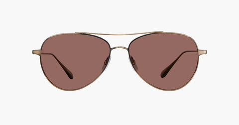 Garrett Leight - Culver Brushed Gold Sunglasses / Semi Flat Redwood Lenses
