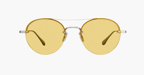 Garrett Leight - Beaumont Brushed Silver Champagne Sunglasses / Shooter Yellow Lenses