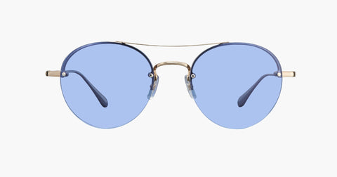 Garrett Leight - Beaumont Gold Crystal Sunglasses / Blue Magic Lenses