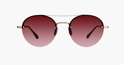 Garrett Leight - Beaumont Rose Gold Dove Sunglasses / Cherry Bomb Lenses
