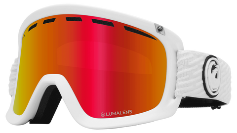 Dragon - D1 OTG PK White Snow Goggles / Red Ion + Pink Ion Lenses