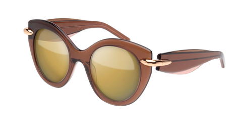 Pomellato - PM0004S 50mm Brown Sunglasses / Pink Brown Lenses
