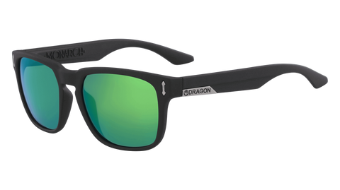 Dragon - Monarch LL 55mm Matte Black Sunglasses / Lumalens Green Ion Lenses
